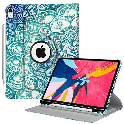 Fintie Case with Built-in Pencil Holder for iPad Pro 11 2018 [Support 2nd Gen Pencil Charging Mode] - 360 Degree Rotating Stand Protective Cover with Auto Sleep/Wake, Emerald Illusions