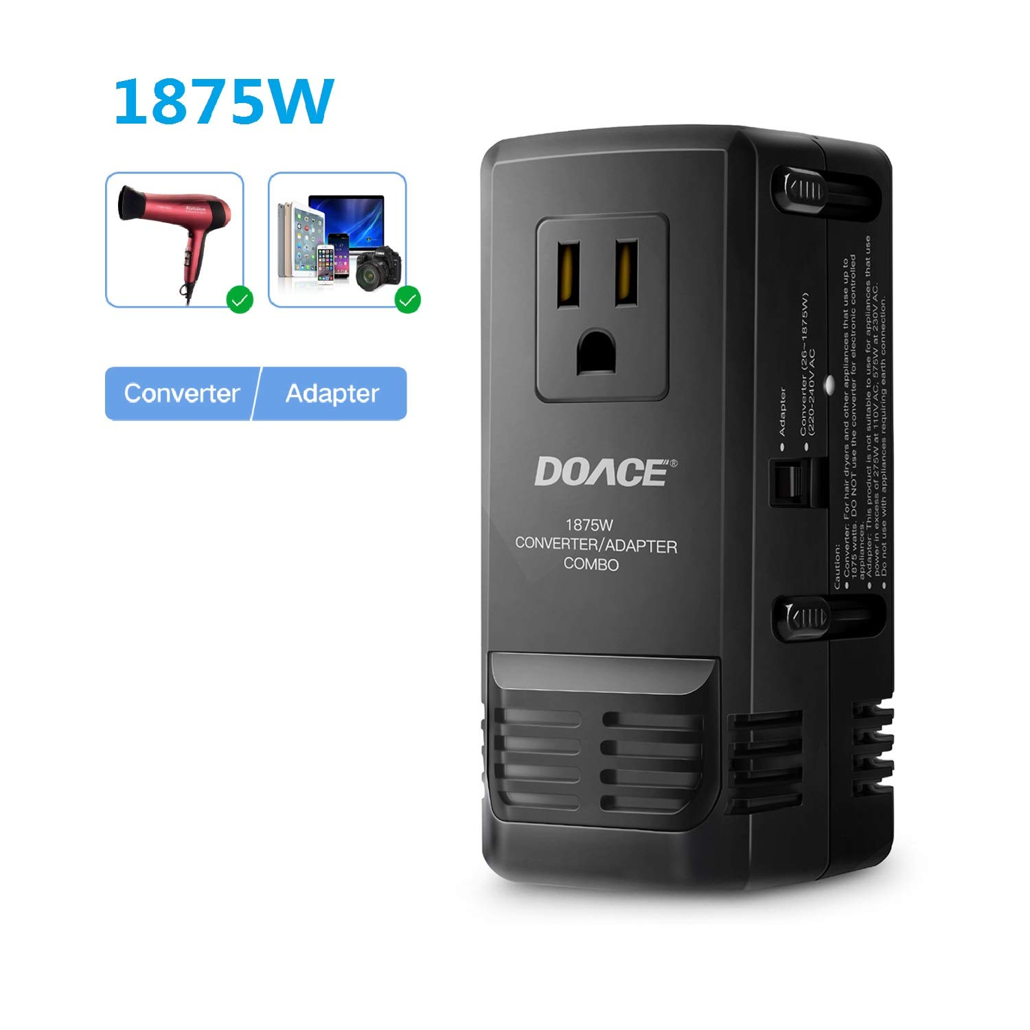 DOACE 1875W Travel Power Converter and Adapter Combo, Step Down Voltage Transformer 220V to 110V for Hair Dryers, International EU/UK/AU/US Wall Charger Plugs for 150 Countries (1875W) (1875W)