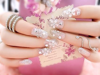 aukmla 24pcs/set novia de estilo francés uñas postizas con flores y brillantes acabado de