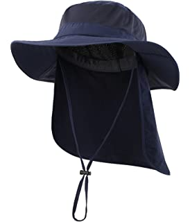 d7d80245 Home Prefer Outdoor UPF50+ Mesh Sun Hat Wide Brim Fishing Hat with Neck Flap