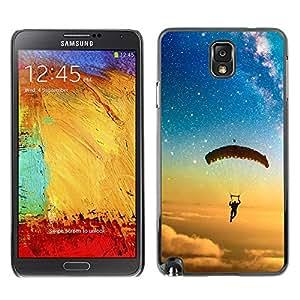 El cielo Vuelo del paracaídas - Metal de aluminio y de plástico duro Caja del teléfono - Negro - Samsung Note 3 N9000
