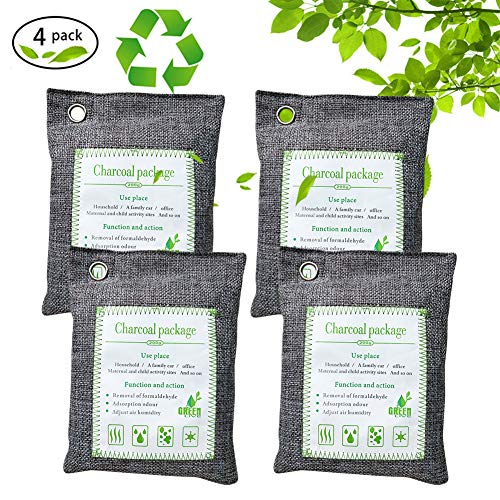 Eastsky Natural Fresh Bag, Charcoal Bag Bamboo Air Purifying 4 Pack 200G Deodorizer Odor Absorber Eliminator Natural Air Purifier for Cars, Closets, Bathrooms and Pet Areas(4 Pack) (Gray)