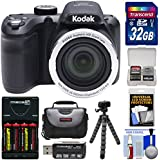 Kodak PIXPRO AZ401 Astro Zoom Digital Camera (Black) 32GB Card + Batteries & Charger + Case + Flex Tripod + Kit