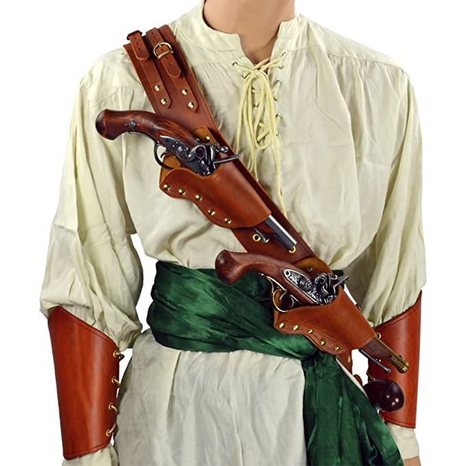 Deluxe Adult Costumes - Pirate's triple threat pistol brown leather baldric belt