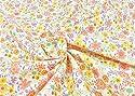 リバティ風 花柄 生地【オレンジ】ブロード おしゃれな小花柄のフラワープリント生地 布 布地 手芸【1m単位】