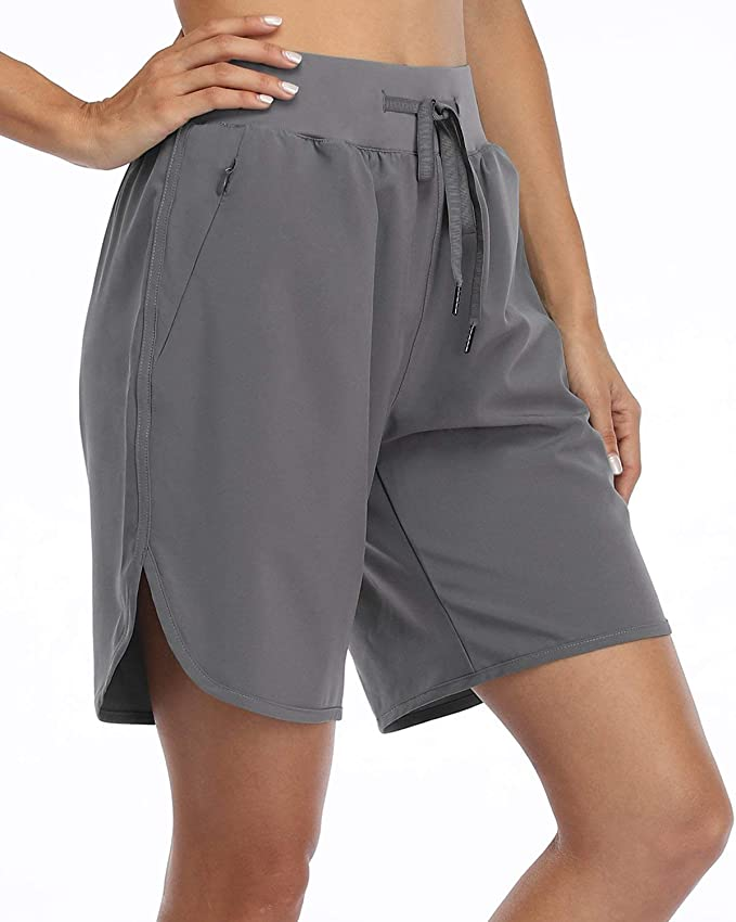 Willit Womens 7 Inches Long Running Shorts Athletic Workout Shorts Lined Dri-Fit Gym Shorts Zipper Pocket