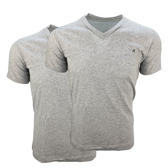 c1b3a537 Replay 2 Pack Plain Grey V-Neck T-Shirts M3589: Amazon.co.uk: Clothing