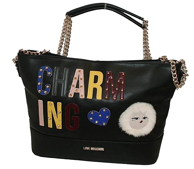 Moschino BORSA SHOPPING LOVE CHARMING BAG TRACOLLA DONNA NERO B19MO79   Amazon.it  Abbigliamento 8498f47deef