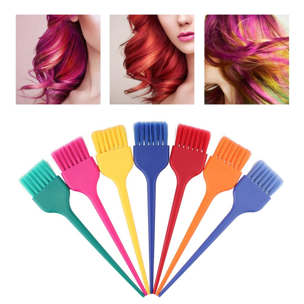 Hair Dye Brush Set,7Pcs L Size Colorful Salon Long Tail Hair Coloring Brushes for Hair Dyeing