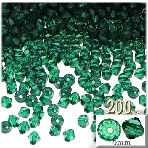 The Crafts Outlet, 200-pc Acrylic Bicone Beads, Faceted, 4mm, Emerald Green - Faceted Emerald Green
