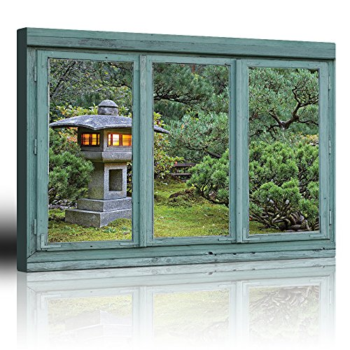Vintage Teal Window Looking Out Into a Japanese Garden with a Lamp Post