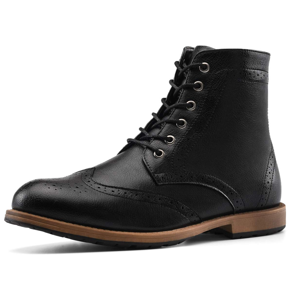 Men's Oxford Boots Wingtip Dress Boots Brogue Lace-Up Zip for Work Hike Motorcycle Black 10.5 by GM KENNARD