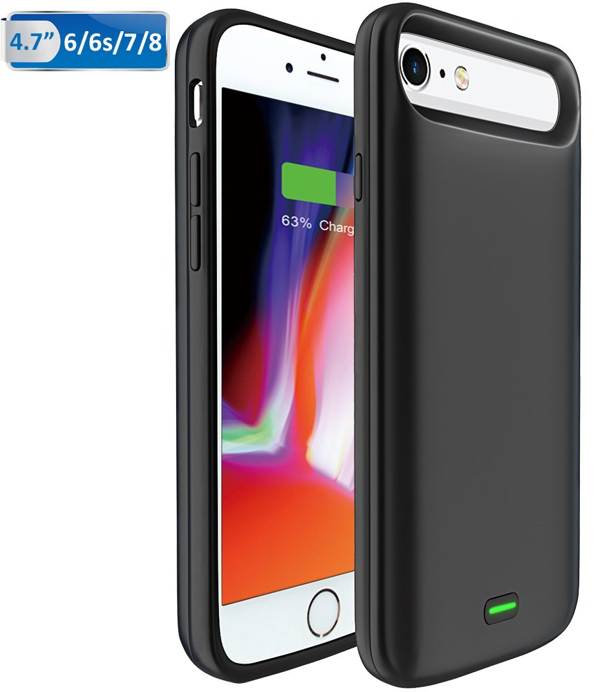 Bovon Funda Bateria iPhone 6 / 6S / 7/8, 5500mAh Bateria Externa Recargable Power Bank, Cargador Portatil Protector Estuche de Carga para iPhone 6 / ...