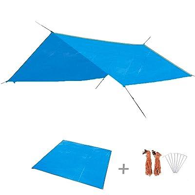 Triwonder Camping Tente Tarp Empreinte Extérieure Imperméable À L'eau Hamac Rain Fly Rainfly Couverture Parasol Abri Tapis de sol Tapis de couverture Canopy