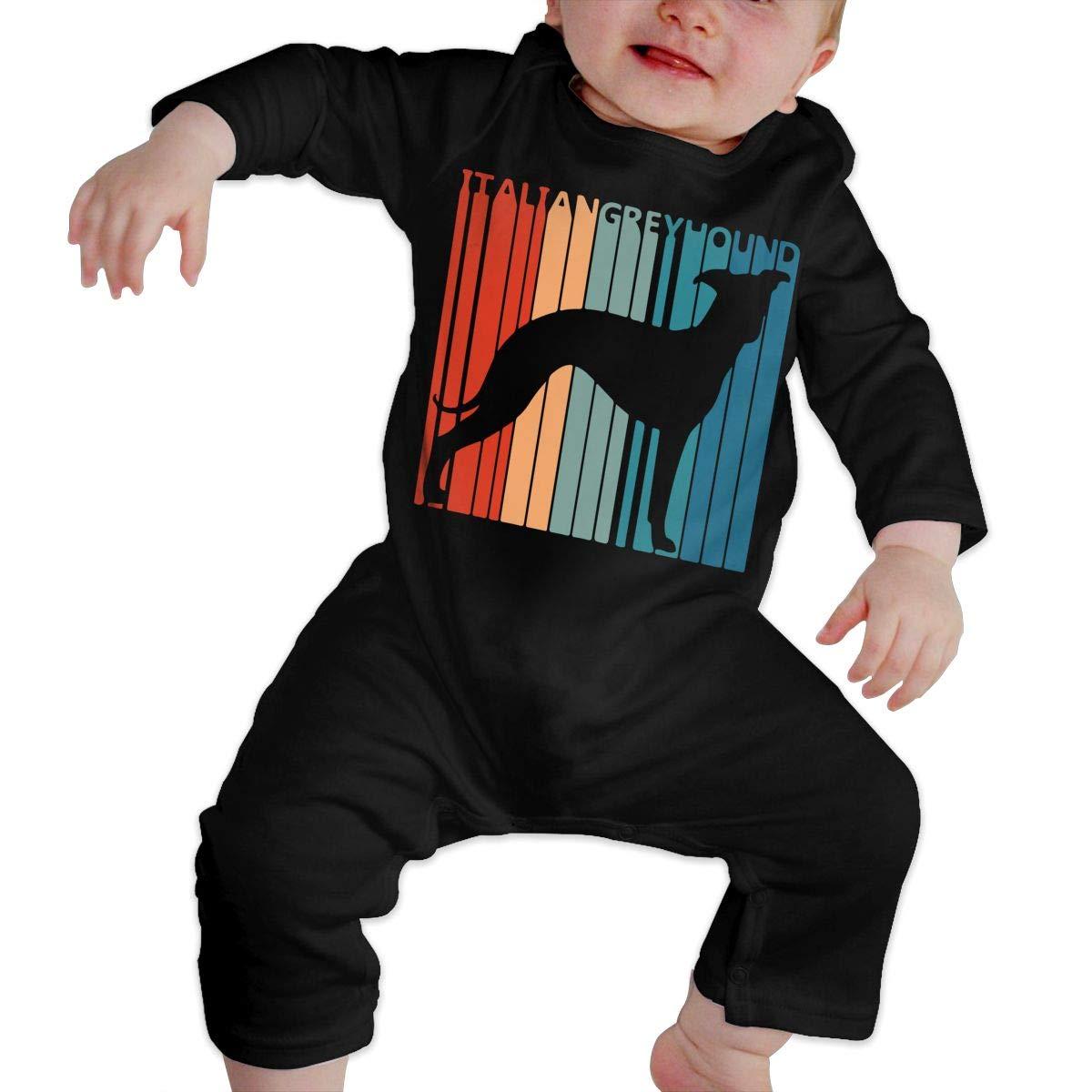 Cute Italian Greyhound Toddler Baby Long Sleeve Bodysuit Organic Coverall