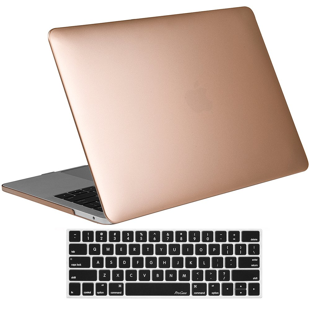 ProCase MacBook Pro 13 Case 2018 2017 2016 Release A1989 A1706 A1708, Hard Case Shell Cover and Keyboard Skin Cover for Apple MacBook Pro 13 Inch with/Without Touch Bar and Touch ID -Gold