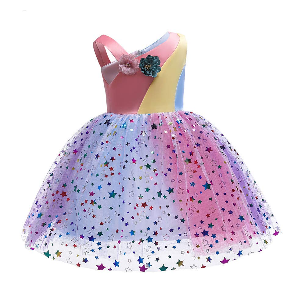 heavKin-Clothes 2-9Years Childrens Kids Baby Girls Sling Stitching Mesh Tutu Party Dress Princess Skirt