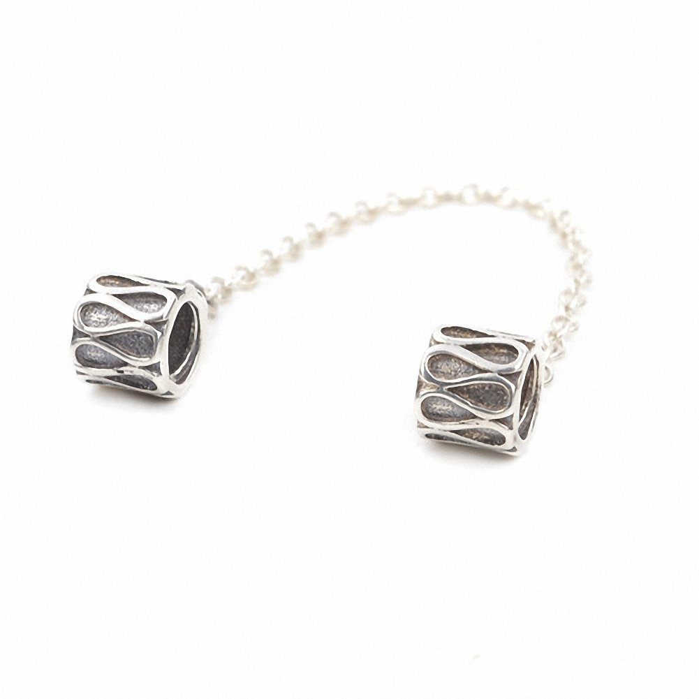 925 Sterling Silver Screw Threaded Safety Chain for Charms Bracelet