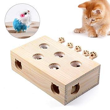 Juguete Interactivo para Gato, Whack A Mole Cat Toy, 100% Madera ...