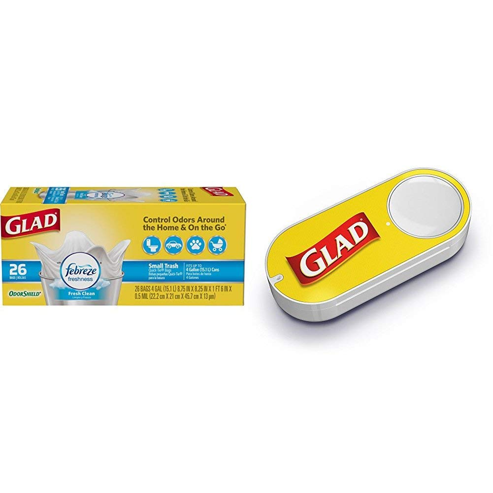 Glad OdorShield Small Trash Bags - Febreze Fresh Clean - 156 Units (Packaging May Vary) + Glad Dash Button