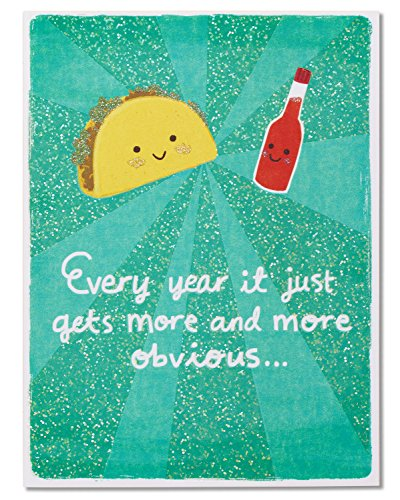 American Greetings Funny Taco and Hot Sauce Anniversary Card with Glitter - 5856656 (Anniversary Glitter)