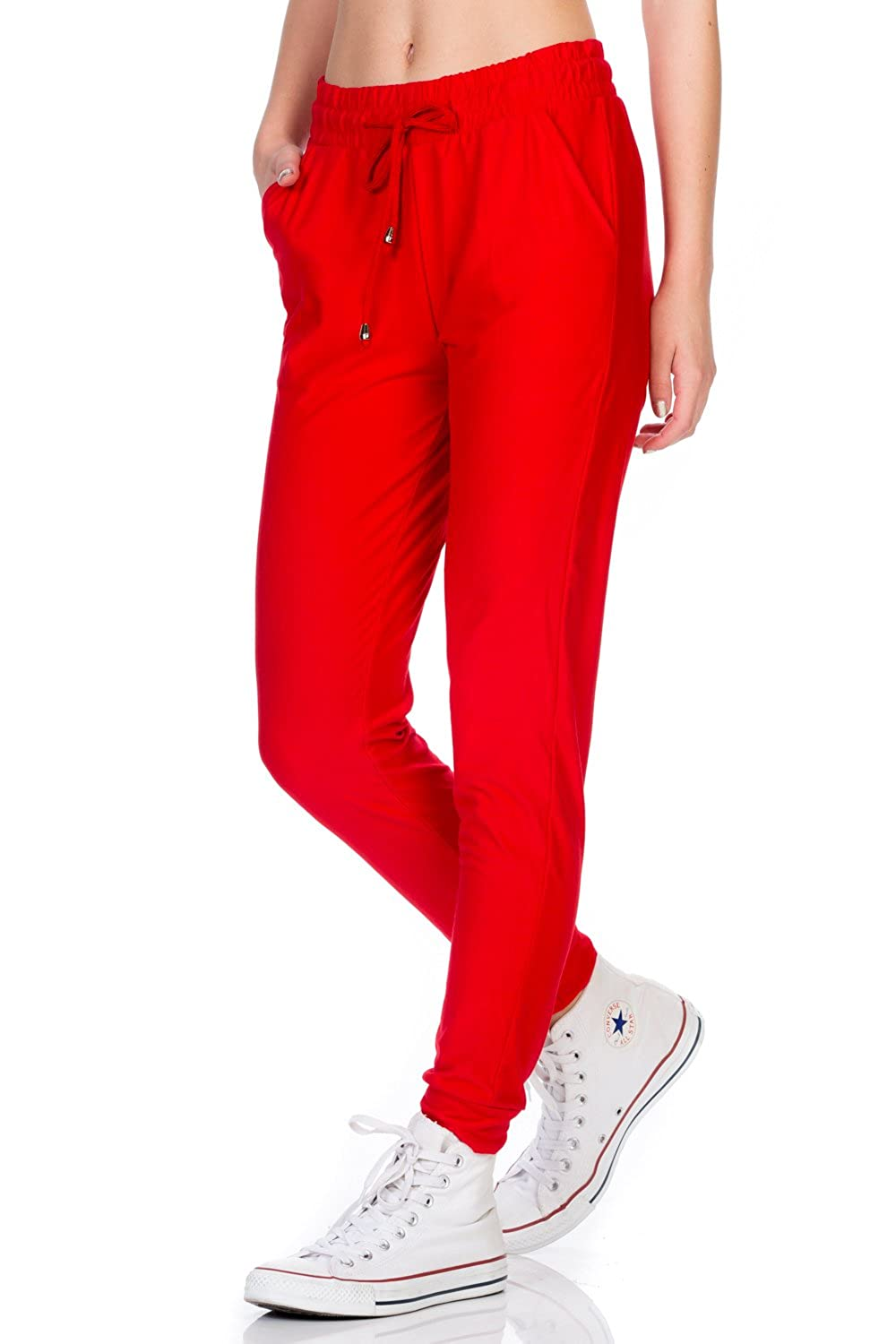 Cherry Red My Yuccie Women's Super Soft Comfy Print Jogger Pants with Zipper Side Pockets (S  XL)