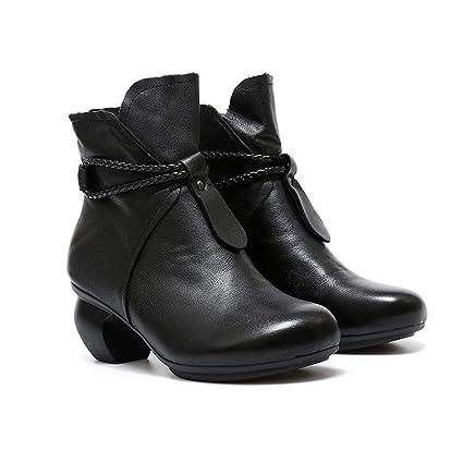 YAN Botas de Cuero para Mujer Invierno señoras Botines Zapatos para Caminar al Aire Libre Zapatos