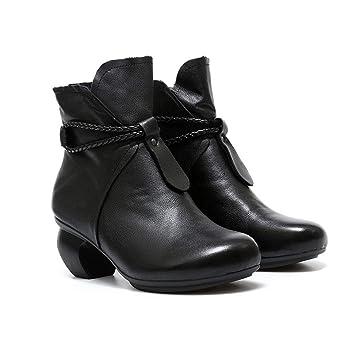 YAN Botas de Cuero para Mujer Invierno señoras Botines Zapatos para Caminar al Aire Libre Zapatos cálidos Boda y Vestido de Noche Zapatos: Amazon.es: ...