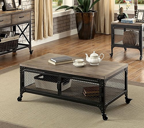 Ursula Gray/Black Metal/Wood Coffee Table by Furniture of America (Ursula Metal)