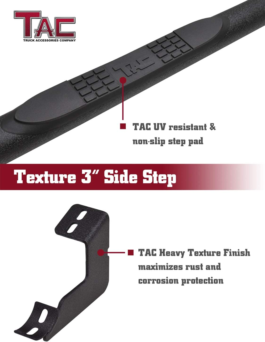 """TAC Side Steps Running Boards Fit 2019-2020 Toyota RAV4 SUV 3/"""" Texture Black Side Bars Nerf Bars Off Road Accessories"""