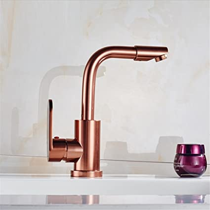 Amazoncom HomJo Kitchen Faucet Space Aluminum Rose Gold Ceramic - Rose gold kitchen faucet
