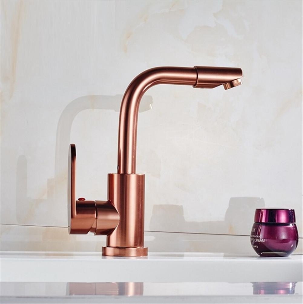 HomJo Kitchen Faucet Space Aluminum Rose Gold Ceramic Single Handle Tap, 1