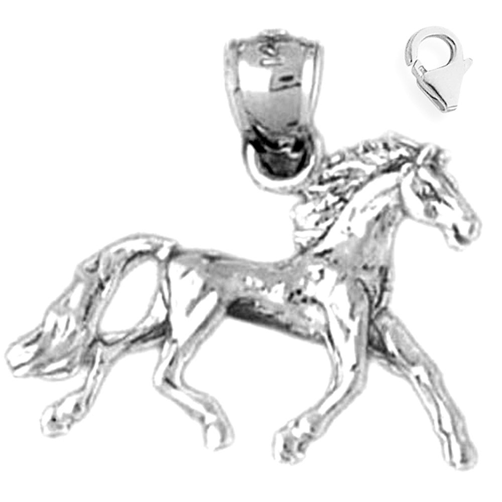 Sterling Silver 21mm 3D Mustang with 7.5 Charm Bracelet Jewels Obsession 3D Mustang Pendant