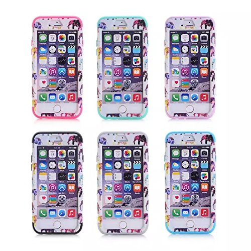 iPhone 6 Case , iPhone 6S Case, Lantier antichoc Case hybride triple couche de protection en plastique dur avec Housse silicone souple pour Apple iPhone 6 / 6S 4,7 pouces (Elephant noir animal)