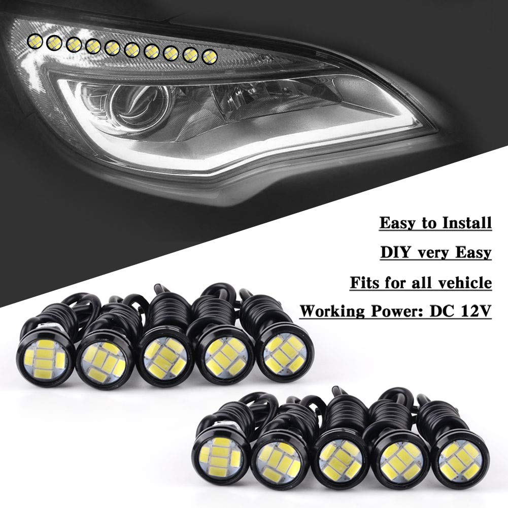 YITAMOTOR 10x Amber Eagle Eye 23mm 9W Universal High Power Bumper DRL Fog Light Motorcycle Light Daytime Running DRL Tail Backup Yellow Bulbs