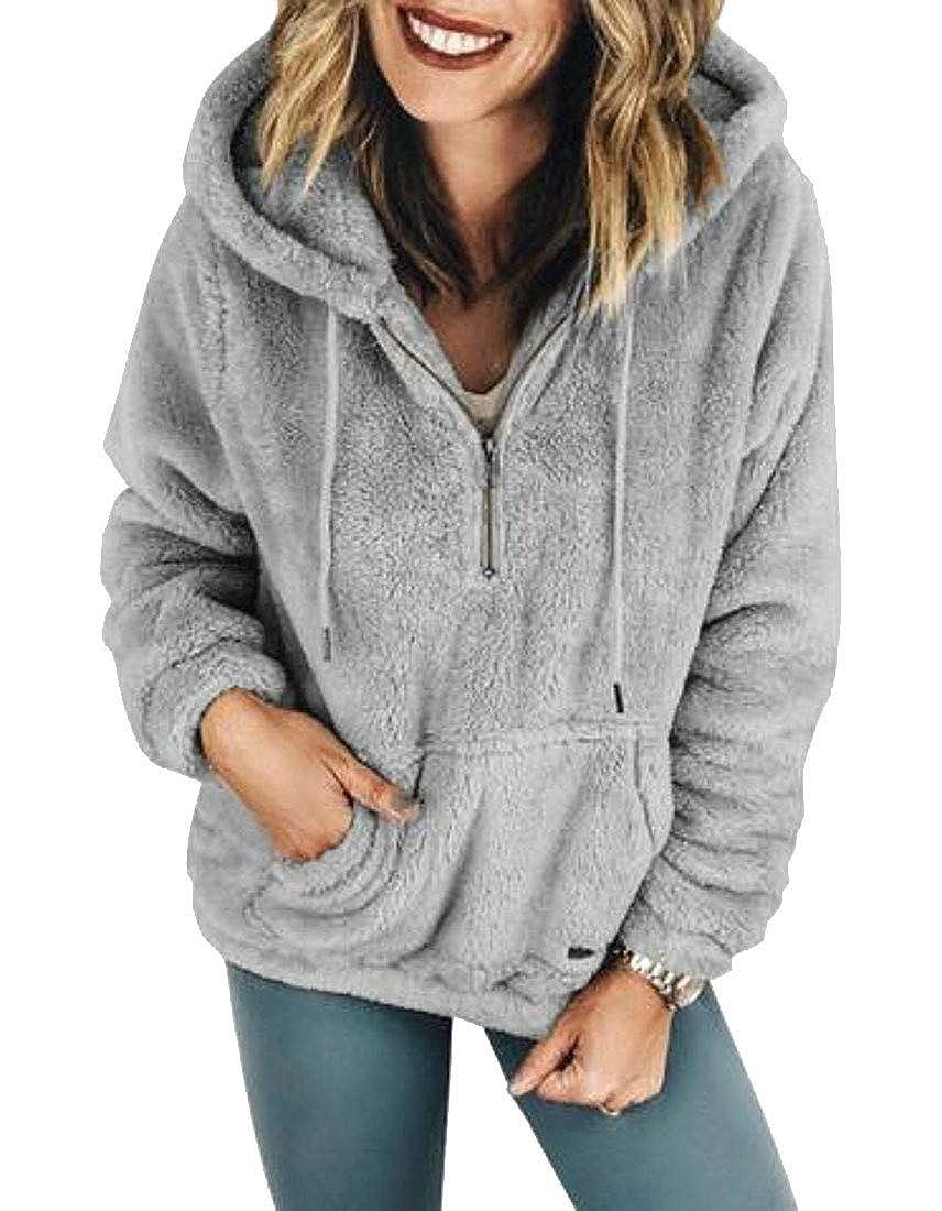 ARTFFEL Womens Sherpa Zipper Fuzzy Fall Winter Pullover Hoodie Hooded Sweatshirt Coat
