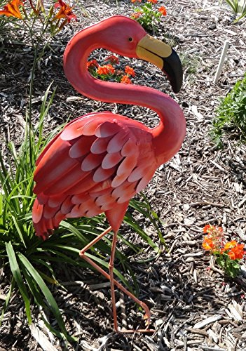 CHSGJY Pink Flamingo Large Metal Standing Art Sculpture L...