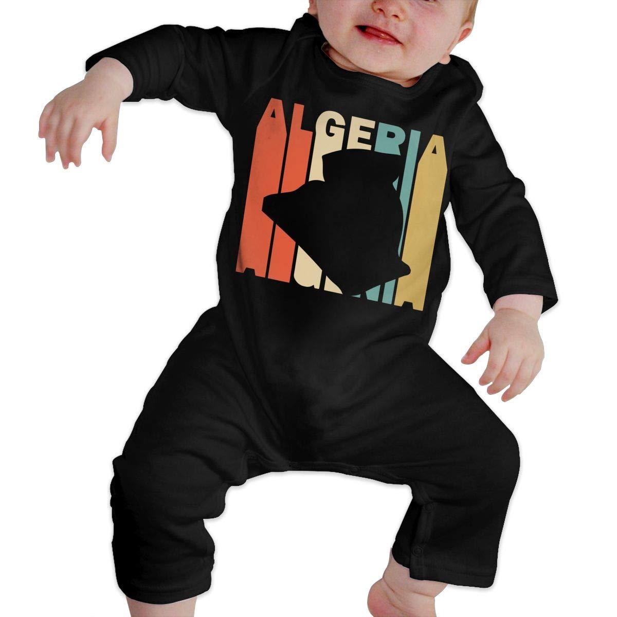 Fashion Retro Style Algeria Silhouette Jumpsuit Long Sleeve Cotton Bodysuit for Unisex Baby