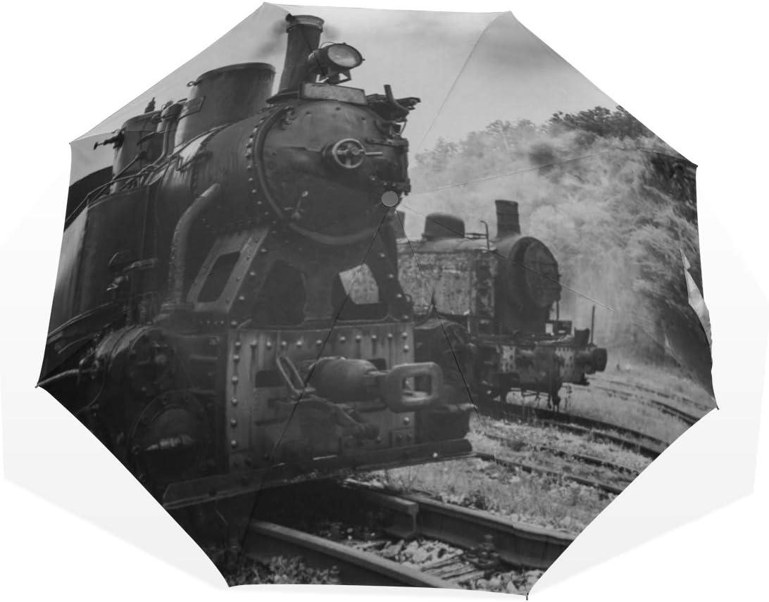 Paraguas de Viaje Vapor Negro de la Vendimia Tren eléctrico ferroviario contra el Ultravioleta Compacto 3 Fold Art Ligero Paraguas Plegables (impresión Exterior) Lluvia a Prueba de Viento Paraguas de