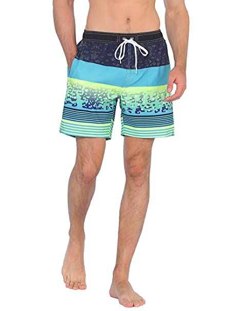 586e9580bb Unitop Men's Surfing Trunks Activewear Quick Dry Tropical Holiday Party  Blue and Yellow 28