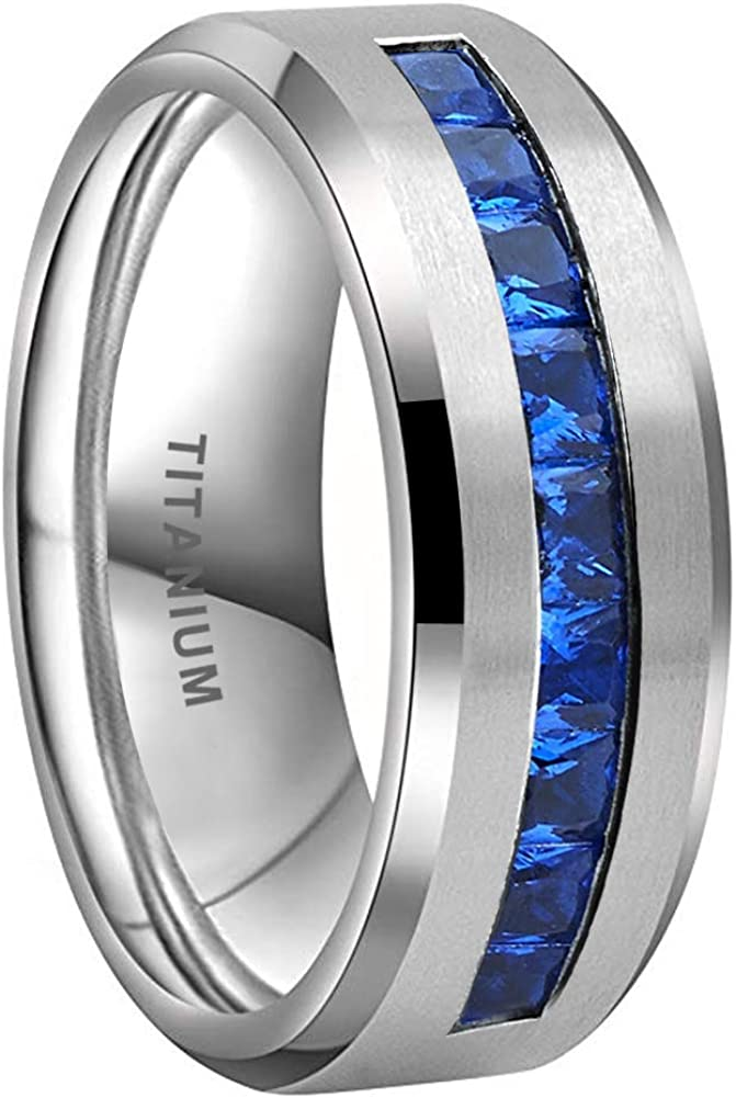 iTungsten 8mm Titanium Rings for Men Women Eternity Wedding Engagement Bands White/Blue Princess Cubic Zirconia Inlay Beveled Edges Matte Finish Comfort Fit