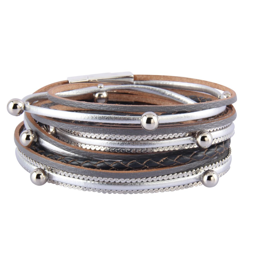 TASBERN Leather Wrap Bracelets Beads Wrap Around Bracelet Multi Ropes Mix Cuff Bangle for Women Girls (cuff bangle bracelets-gray)