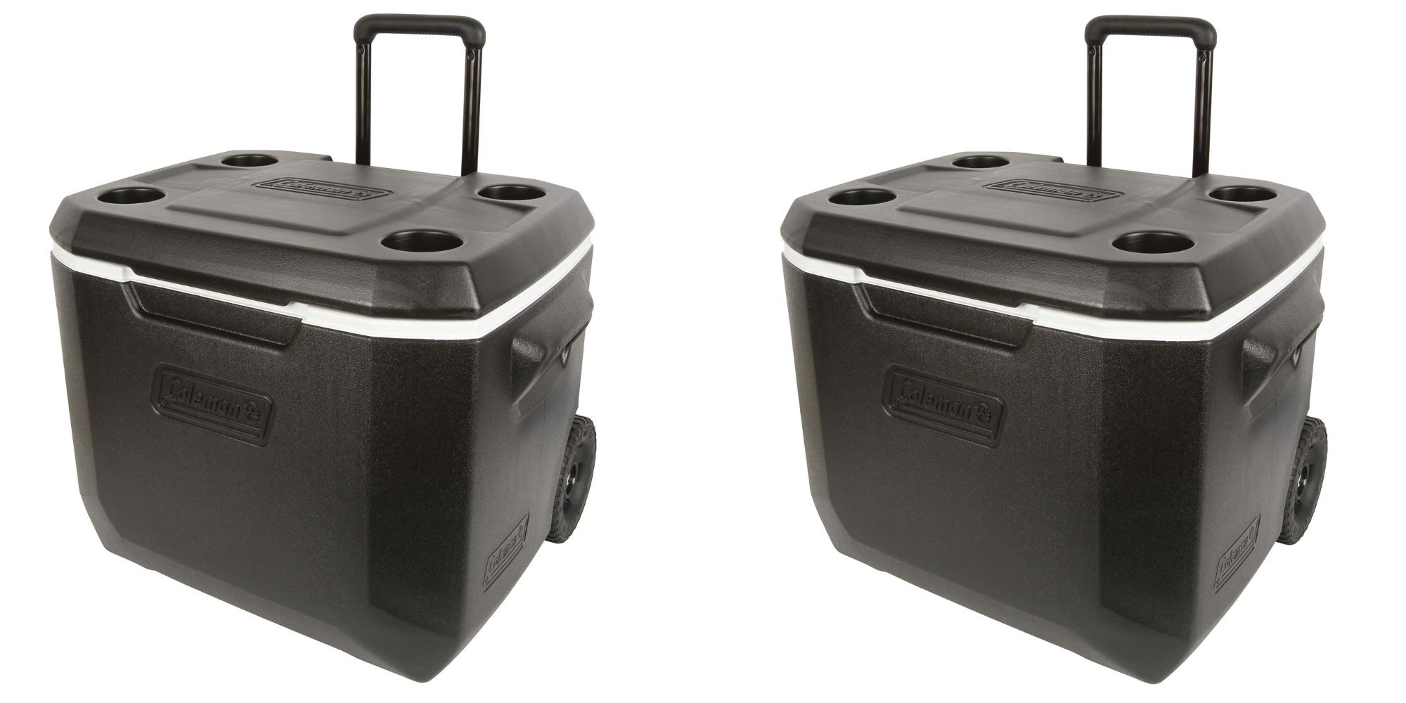 Coleman 50-Quart Xtreme 5-Day Heavy-Duty Cooler with Wheels, (Black)/ Set of 2