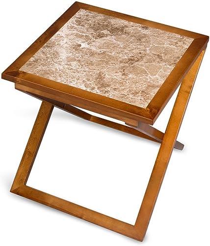 Olee Sleep Marron Light Natural Marble Top Soild Wood Base X-Coffee Table/ Tea Table / End Table/ Side Table/ Solid Wood/ Office Table/ Computer Table/ Vanity Table/ Dining Table/ Brown Light Brown