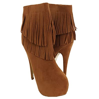 Womens Faux Suede Fringe Hidden Platform Stiletto High Heel Ankle Boots in Black Tan