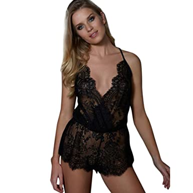 adfc34e23 Ltrotted Women Sleeveless V Neck Sexy Lace Sleepwear Lingeries Clubwear  Jumpsuit (3XL)