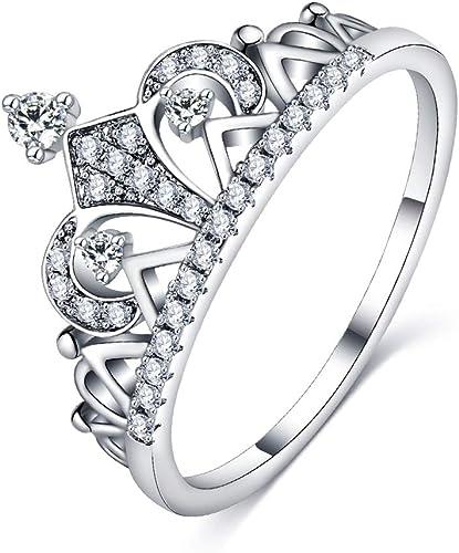 Luxury Princess White Topaz Wedding Ring 925 Silver Promise Valentine/'s Day Gift