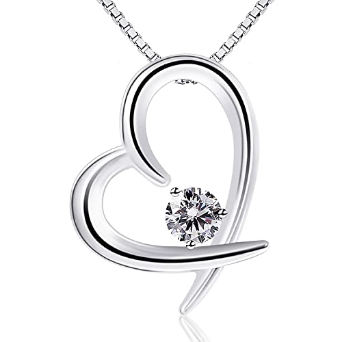 8947deba9 B.Catcher Women Jewelry 925 Sterling Silver Cubic Zirconia Love Heart Pendant  Necklace: Amazon.ca: Jewelry