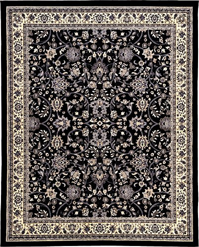 (Unique Loom Kashan Collection Traditional Floral Overall Pattern with Border Black Area Rug (8' 0 x 10' 0))