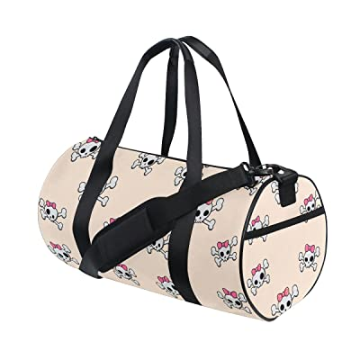 delicate Naanle Skull And Crossbones Pink Bow Day Of The Dead Beige Gym bag  Sports Travel 1258b4ad0f